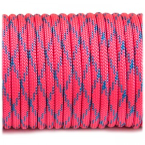 Paracord Type III 550, pink with blue X #358