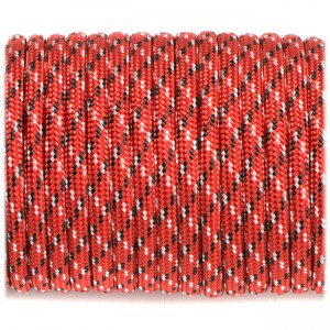 Paracord Type III 550, red with black x #177